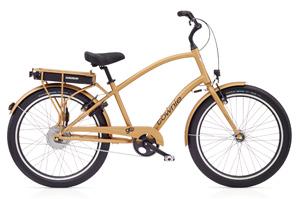 goldenes Electra Townie Go E-Bike Pedelec für moderne Männer mit tollem E-Matic Antrieb
