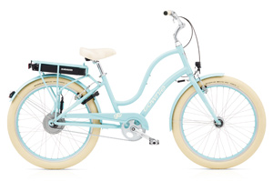 Hellblaues E-Bike Pedelec für moderne Frauen mit tollem E-Matic Antrieb